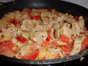 Pfannengericht: Hähnchen-Paprika-Rahmpfanne - Rezept