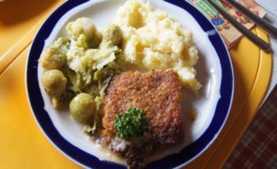 Schlemmerfilet mit Rosenkohl-Wirsing Gemüse und Sellerie-Kartoffelstampf - Rezept