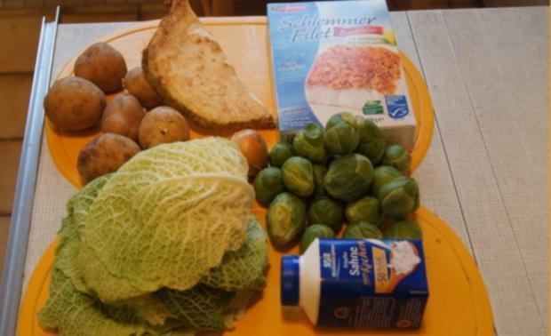 Schlemmerfilet mit Rosenkohl-Wirsing Gemüse und Sellerie-Kartoffelstampf - Rezept - Bild Nr. 2