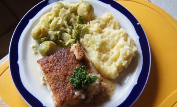 Schlemmerfilet mit Rosenkohl-Wirsing Gemüse und Sellerie-Kartoffelstampf - Rezept - Bild Nr. 13