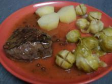 Hüftrindersteak  und roten /schwarzen eingelegten Pfefferkörnern - Rezept