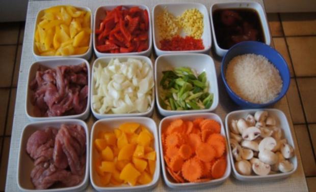 Schweinefilet süß-sauer mit Gemüse und Curry-Reis - Rezept - Bild Nr. 4