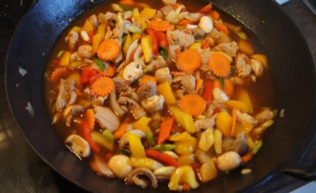 Schweinefilet süß-sauer mit Gemüse und Curry-Reis - Rezept - Bild Nr. 14