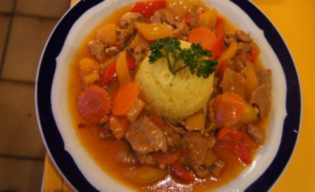 Schweinefilet süß-sauer mit Gemüse und Curry-Reis - Rezept - Bild Nr. 15