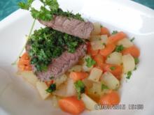 Kräuterfilet aus dem Ofen ,mit Kohlrabi-Möhren -Gemüse - Rezept