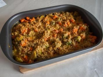 Rosenkohl-Gratin mit Süßkartoffeln (scharf) - Rezept