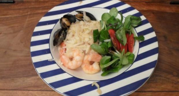 Limettenrisotto Mit Meeresfrüchten Dazu Salat Aus Rapunzeln Rezept