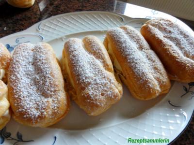 Brandteig:   ECLAIRS mit Sahne-Pudding-Füllung - Rezept