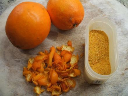 Vorrat: Orangenschalen- getrocknet und gemahlen - Rezept