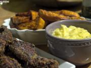 Chicken-Fingers mit Süßkartoffel-Sticks und Limetten-Majo - Rezept