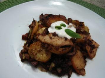 Spitzkohl- Blutwurst-Kartoffel- Pfanne - Rezept
