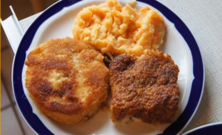 Schlemmer Filet mit Möhren-Kartoffelstampf und Sellerieschnitzel - Rezept