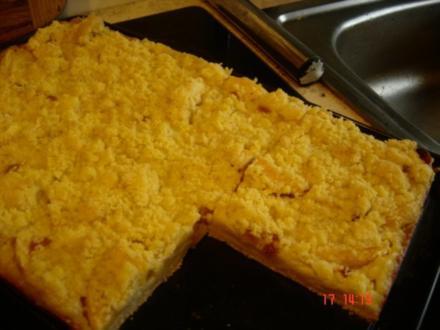 Apfelkuchen mit Streusel und Pudding - Rezept