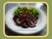 Hirschkalb mit Cassis-Sauce,Polenta und Rosenkohlblätter - Rezept