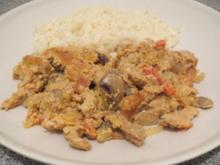 Kochen: Schweinegeschnetzeltes aus dem Backofen, indisch angehaucht - Rezept