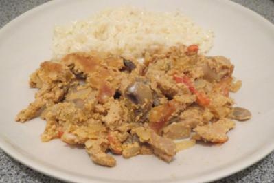 Rezept: Kochen: Schweinegeschnetzeltes aus dem Backofen, indisch angehaucht