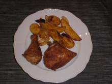 hähnchenteile mit Kartoffelspalten und Zwiebel - Rezept
