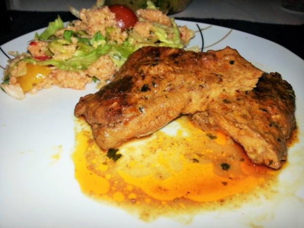 Knackiges Tabouleh mit pikanten Schweinenackensteaks in Tikka Sauce - Rezept - Bild Nr. 9