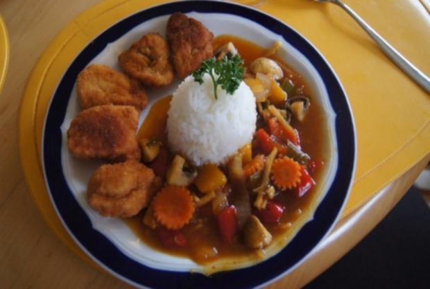 Chicken Nuggets mit Wokgemüse süß-sauer und Reis - Rezept