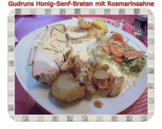 Geflügel: Honig-Senf-Braten mit Rosmarinsahne - Rezept