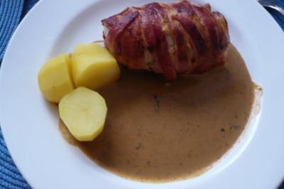 Schweinefilet im Speckmantel mit Senf - Sahne -Sauce - Rezept