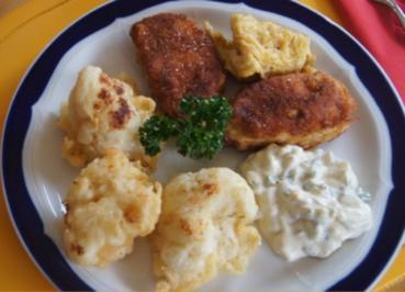 Putensteaks mit ausgebackenen Blumenkohl und Tatarska Omacka - Rezept