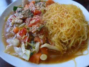 Wok - Gemüse an Glasnudeln mit Kurkuma - Rezept