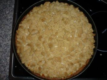 Vanille-Pfirsich-Quarkkuchen mit Streuseln - Rezept