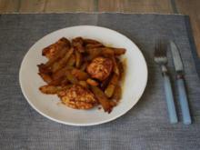 Hähnchen mit Kartoffelspalten, mit Harissa eingerieben - Rezept