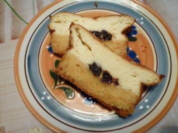 Käsekuchen mit Rotweinpflaumen - Rezept