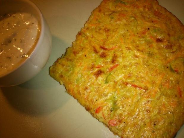 Gemüsepuffer aus dem Ofen mit Joghurt-Quarkdipp - Rezept