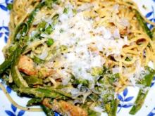 Spagetti mit grünem Gemüse und Schnitzelstreifen - Rezept