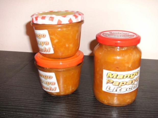 Mango-Papaya-Litschi Konitüre - Rezept