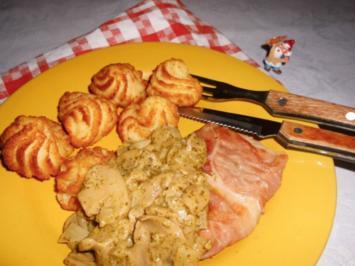 Feinschmecker-Schnitzel mit Pesto-Champignons>> - Rezept