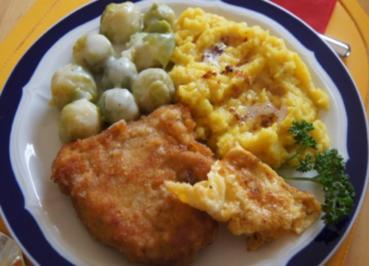 Schnitzel mit Rosenkohl und Currypüree - Rezept