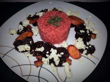Rote Beete Risotto an gebackenen Wurzelgemüse und Schafskäse - Rezept