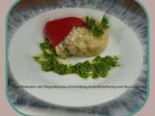 Tapa   Pimientos mit Ziegenkäse-Zucchinifüllung,Kartoffelselleriepüree und Rucolapesto - Rezept