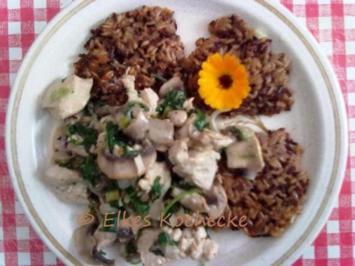 Putengeschnetzeltes mit dreifarbigen Reis-Röstis - Rezept
