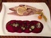 Vitello Tonnato auf Rote Bete-Carpaccio und Malzbierbrot - Rezept