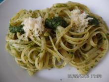 Linguine (Nudeln ) mit selbst gemachter Pesto - Rezept