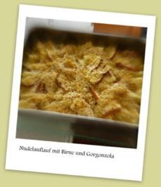 Nudelauflauf mit Birne und Gorgonzola - Rezept