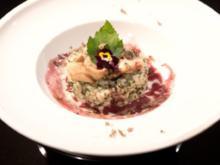 Wildkräuterrisotto mit Garnelen, Rotweinbutter und Trüffelschaum (Carolin Birner) - Rezept