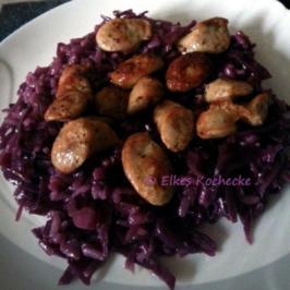 Rotkohlrisotto mit Würstchen - Rezept