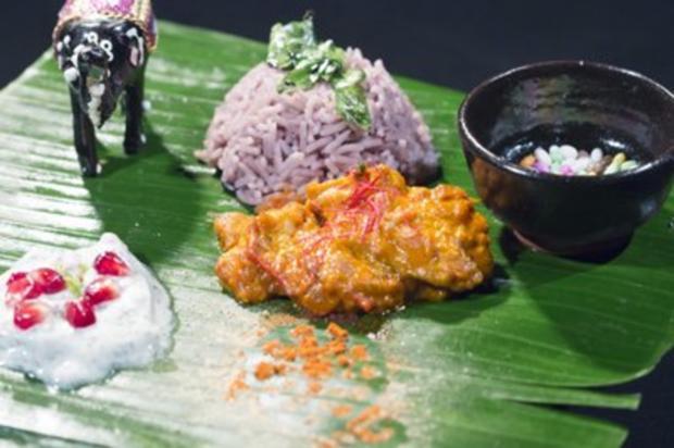Goa Fisch Curry an pinkem Basmati Reis mit Granatapfel-Limetten-Raita (Petra Wagner) - Rezept