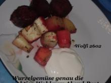 """Gemüse : Ofengebackenes Gemüse """"Pastinake, Karotte, Rote Beete, Kartoffel"""" Vegetarisch - Rezept"""