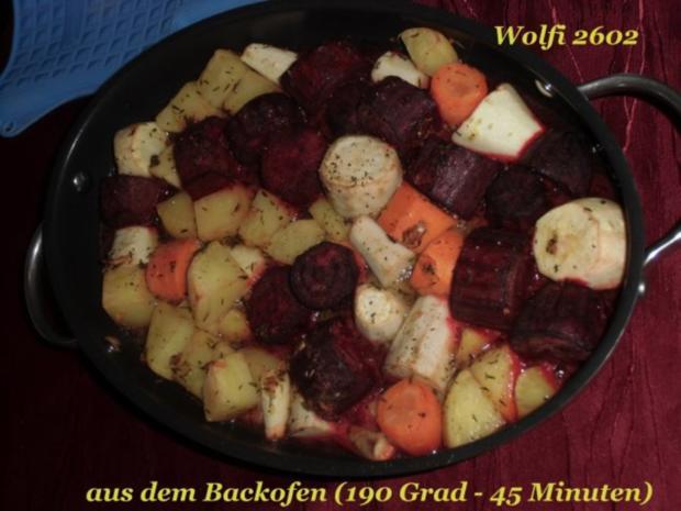 """Gemüse : Ofengebackenes Gemüse """"Pastinake, Karotte, Rote Beete, Kartoffel"""" Vegetarisch - Rezept - Bild Nr. 4"""