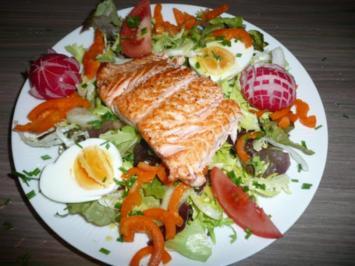Abendessen : Gemischter Salat mit Lachs - Rezept
