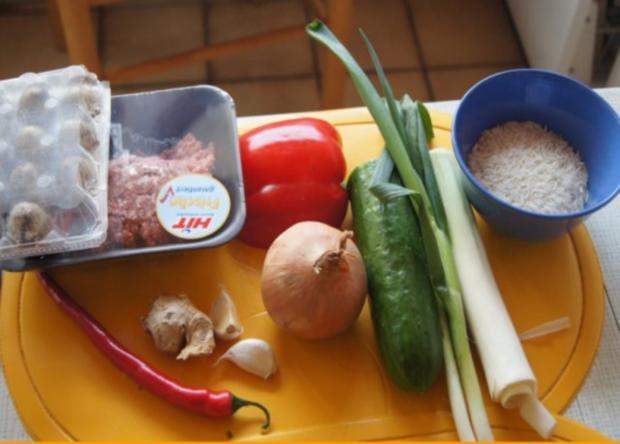 Wachteleier-Mettbällchen auf Gemüsereis - Rezept - Bild Nr. 2