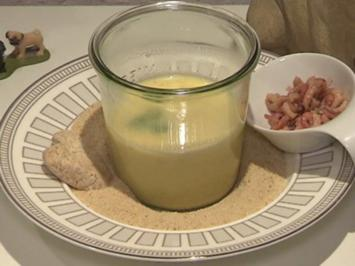 Cremige Kartoffelsuppe mit Krabben im Weckglas serviert - Rezept