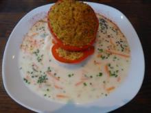 Gefüllter Paprika mit Seitan - Bulgur - Füllung an  Mandel - Sauce - Rezept